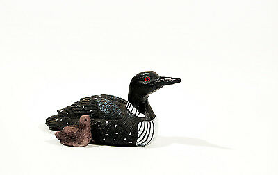 "Loon with chick 4"" x 2"" made of polystone black & white figurine"