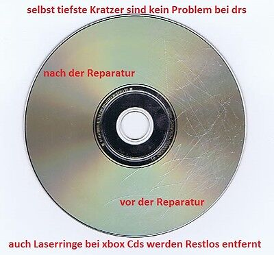 CD DVD Game Disc Repair Reparieren PS1 PS2 Wii XBOX nach der Reparatur wie Neu