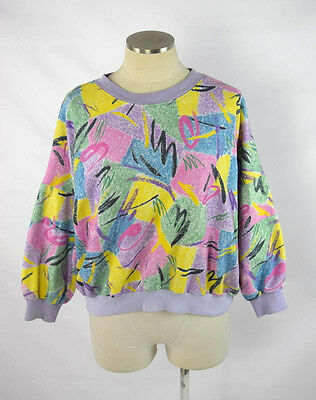 Vintage 90s Grunge Multi Color Pastel Print Sweat Shirt Work Out Athletic Top S