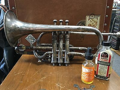 vintage W. YORK & SONS cornet MADE IN grand rapids, MI - number 1128 c1890's