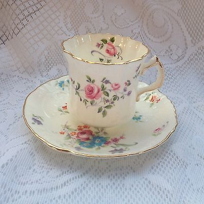 Hammersley Pink Rose/Floral #6114 Scalloped Cup & Saucer 935