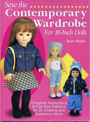 Sew the Contemporary Wardrobe 18 Inch Dolls Joan Hinds, full size Patterns NEW