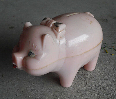 Vintage 1950s Toy Town Corp Hard Plastic Pink Piggy Bank