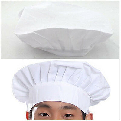 White Hat Hot Baking BBQ Cooking Party Kitchen Costume Cap Elastic Adult Chef