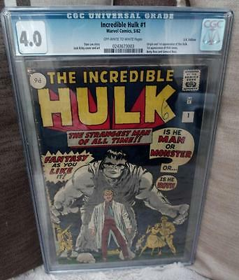 MARVEL Comics HULK  #1 1962  4.0 CGC 1ST app man avengers incredible Grey
