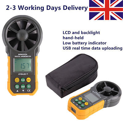 HYELEC LCD Digital Anemometer Wind Speed Air Velocity Meter UK Free Shipping LE