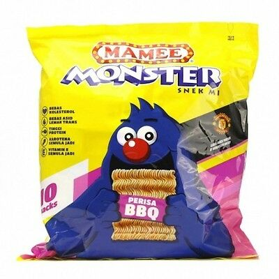 MAMEE MONSTER BBQ Flavor Crunchy Snacks Noodles 10 packs x 25g Ready to Eat