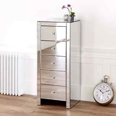 Venetian Mirrored Glass Compact 5 Drawer Tallboy Chest - Bedroom Furniture VEN90