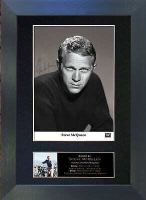STEVE MCQUEEN Signed Mounted Autograph Photo Prints A4 336