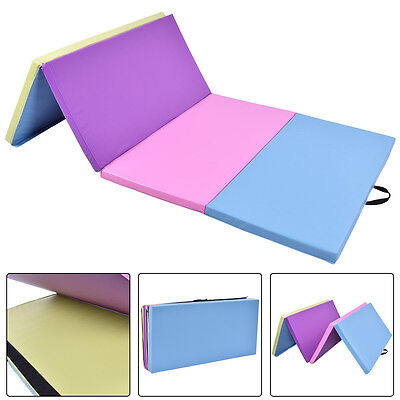 8FT Folding Gymnastics Tumble Floor Mat Yoga Exercise Fitness Pilates Gym Color