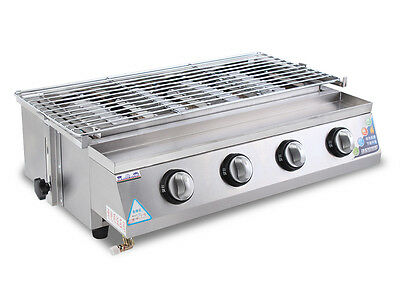 LPG Gas 4 Burners Barbecue Grill Indoor Outdoor Gas BBQ Grill Roaster