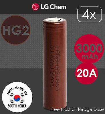 4x LG HG2 3.7V 3000mAh 20A Lithium Li-Ion 18650 Rechargeable Battery Flat Top
