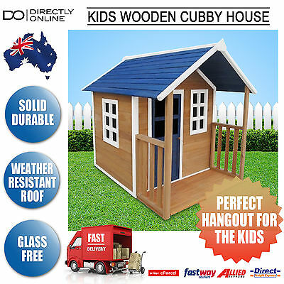 Kids Wooden Cubby House Timber Toy PlayHouse Play House Childrens Pretend Play