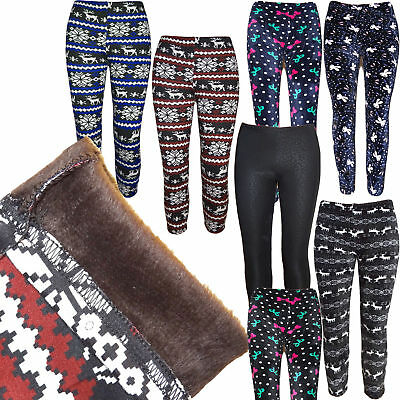 Kinder Gefüttert Warm Winter Leggings Thermohose Renntiere Leggins Treggings