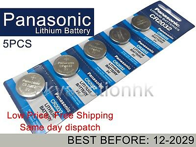 5x Panasonic CR2032 2032 3V cell coin button battery BEST BEFORE 12-2029