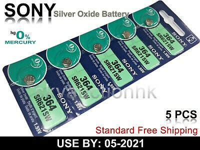5x Sony SR621SW 364 1.55V cell coin button watch battery Japan Made Ed 05-2021
