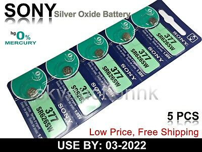 5x Sony SR626SW 377 1.55V cell coin button watch battery Japan made Ed 02-2019
