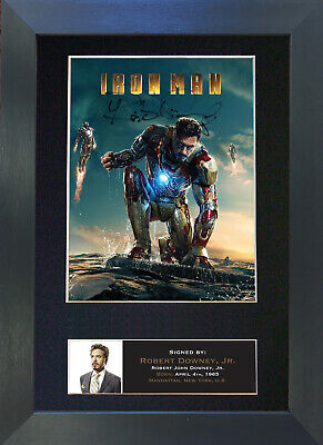 IRON MAN Robert Downey Jr Signed Mounted Autograph Photo Prints A4 587