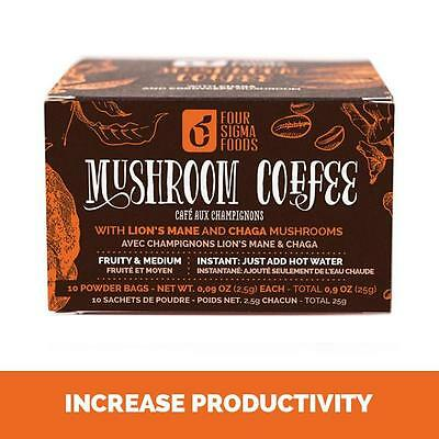 Four Sigmatic Mushroom coffee with Lions Mane & Chaga 10 Pack (Vegan and Paleo)