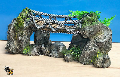 Aquarium Ornament Rock Rope Bridge Fish Tank Rock Decoration New