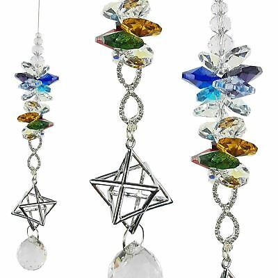 🇦🇺 Rainbow infinity merkaba Crystal Suncatcher car mirror window prism gift