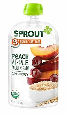 Sprout Organic Baby Food Stage 3 Pouches, Peach Apple Multigrain with 4.5 Ounce