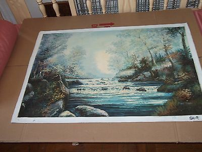 hand painting impressionist on canvas of wilderness [ 36''x24'' ] signed