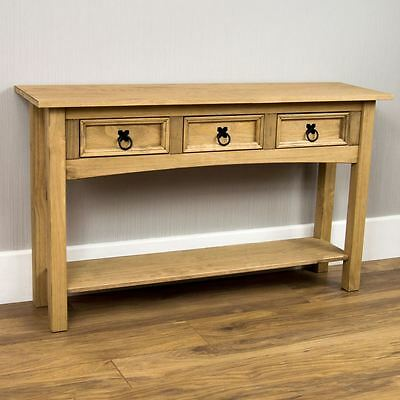 Corona 3 Drawer Console Table Shelf Mexican Solid Pine Wood Waxed Rustic Finish