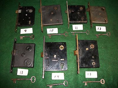 Old-Vintage-Antique-Full Mortise Bit (Skelton) Key Door Lock (Choice Of 1 Only)