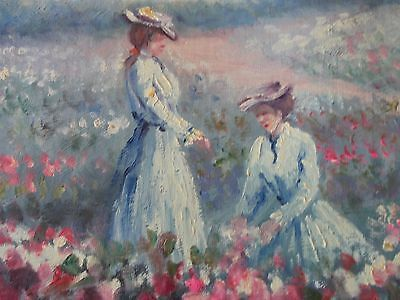 rare hand painted oil on canvas impressionist seine of two french lady on small