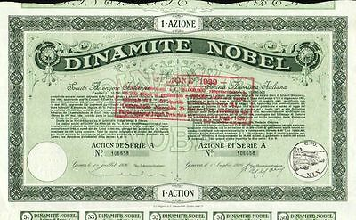 RARE HISTORIC 1926 NOBEL DYNAMITE (ITALY!) BOND Beautifully Engraved, 21 Coupons