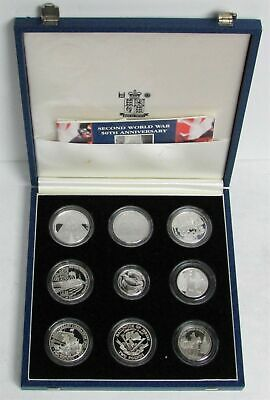 1945-1995 SILVER 50th ANNIVERSARY END OF WWII 9 COIN BOX SET & COA