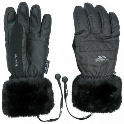 New Ladies Trespass Thermal Winter Ski Gloves White Black S M L