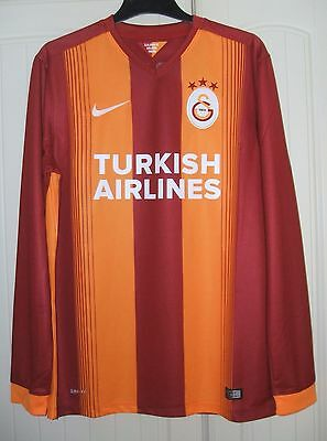 Brand New Genuine Galatasaray 2014/15 Home L/S Shirt C/L + Patch Adults Large
