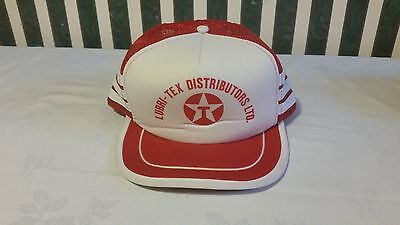 Snap Back Texaco Hat Lubri Tex Distributors Vintage 1970's Red And White