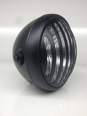 "Universal Steel 7"" Matt Black Yamaha Cafe Racer Prison Headlight xs400 xj550 xs"