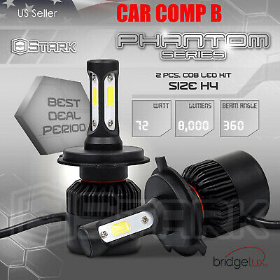 2x 36W 4000LM US BridgeLux Motorcycle Headlight Hi Lo Kit 6000K Bulb H4 9003 (B)