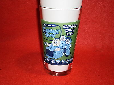 The Official Family Guy Drinking Game Pint Glass Peter Brian Stewie Quagmire EUC