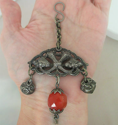 Chinese Export Sterling Silver Repousse Carnelian Large Fob