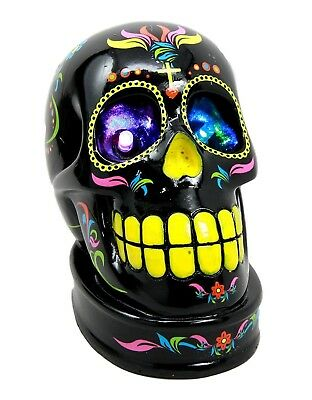 """4.5"""" Height Day of The Dead Black Sugar Skull with Color LED Light Eyes Figurine"""