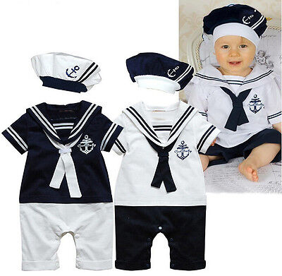 Hot Baby Boy Girl Sailor Costume Suit Toddler Outfit Romper Clothes + Hat 0-24M