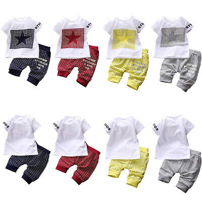 Summer 2PCS Baby Kids Boy Short Sleeve Suit T-shirt Tops+Pants Outfits Clothes