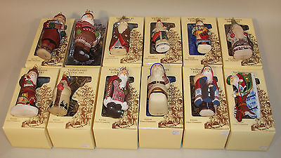 12 Vaillancourt Folk Art Glass Santa Ornaments Sleigh 9 Ladies Father Christmas