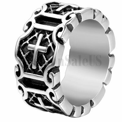 Mens Vintage Charm Punk Rock Cross Patterned Stainless Steel Ring Band Size 7-12