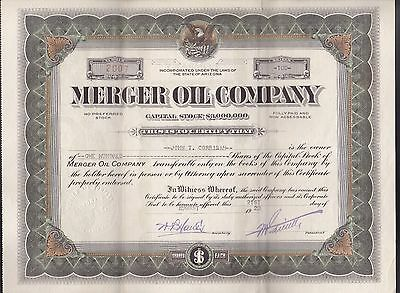 1920 MERGER OIL Corp - Arizona - RARE Stock Certificate uncancelled
