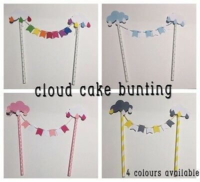 Paper Cake Topper Mini Bunting Cloud Baby Shower Party Pink Blue Yellow Rainbow
