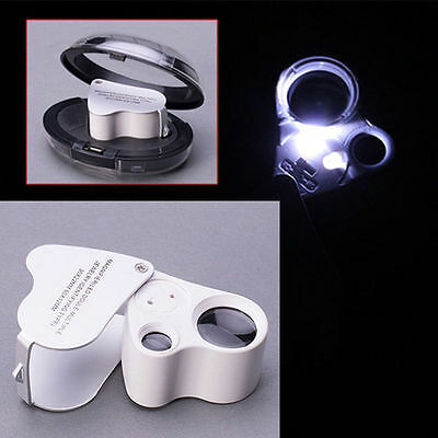 60X 30X Glass Magnifying Magnifier Jeweler Eye Jewelry Loupe Loop W LED Lights