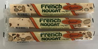 909766 3 x 100g BARS OF BERTOLDO'S TRADITIONAL APRICOT FRENCH NOUGAT - HAND MADE
