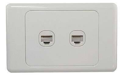 2 Gang Wall Plate Wallplate Clipsal Style 1 RJ45 Cat 6 Data Network LAN Jack