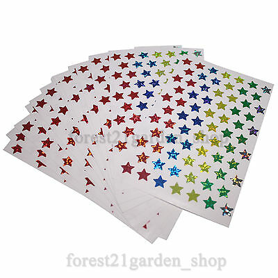 5Color Hologram Glossy Star Label Sticker, 10x10mm Dot Point-14 Sheet -1008 Dots